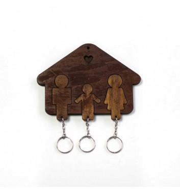 Ключниця «Будиночок Сім'я + Хлопчик» Dark