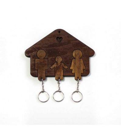 Ключница «Домик Семья + Мальчик» Dark