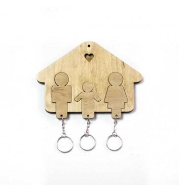 Ключниця «Будиночок Сім'я + Хлопчик» Light