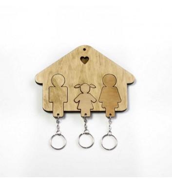 Ключниця «Будиночок Сім'я + Дівчинка» Light