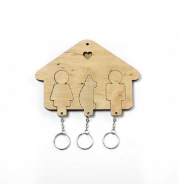 Ключниця «Будиночок Сім'я + Авто» Light