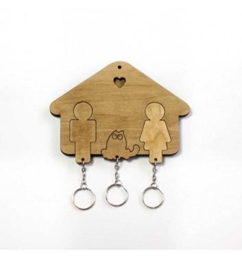 Ключниця Sho made Будиночок Сім'я + Кіт Light