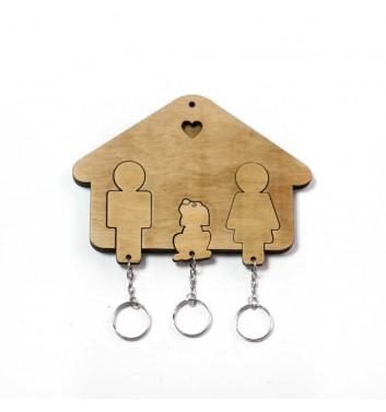 Ключниця «Будиночок Сім'я + Собака» Light