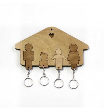 Ключниця «Будиночок Сім'я + Хлопчик + Собака» Light
