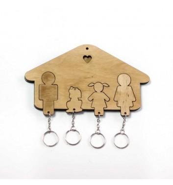 Ключниця «Будиночок Сім'я + Дівчинка + Собака» Light