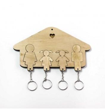 Ключниця «Будиночок Сім'я + Дівчинка + Дівчинка» Light