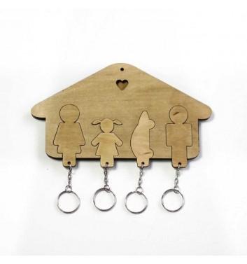 Ключниця «Будиночок Сім'я + Дівчинка + Авто» Light