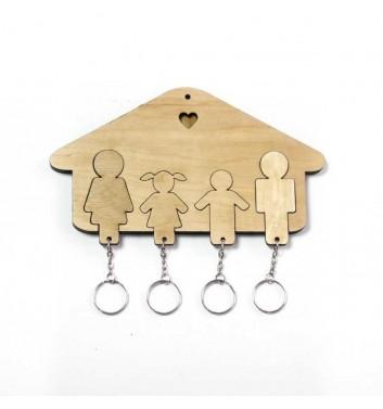 Ключниця «Будиночок Сім'я + Дівчинка + Хлопчик» Light