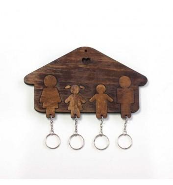 Ключниця «Будиночок Сім'я + Дівчинка + Хлопчик» Dark