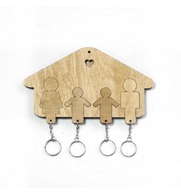 Ключниця «Будиночок Сім'я + Хлопчик + Хлопчик» Light