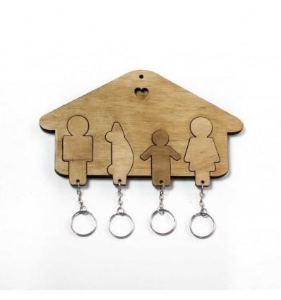 Ключниця «Будиночок Сім'я + Хлопчик + Авто» Light