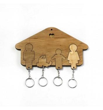 Ключниця «Будиночок Сім'я + Хлопчик + Кіт» Light