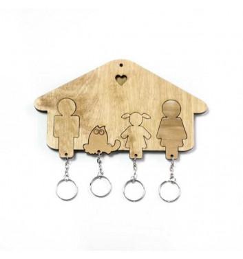 Ключниця «Будиночок Сім'я + Дівчинка + Кіт» Light