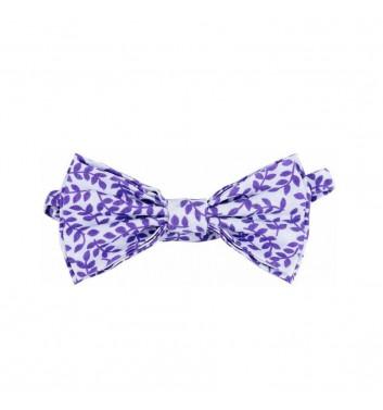 "Bow tie ""White Leaves purple"""
