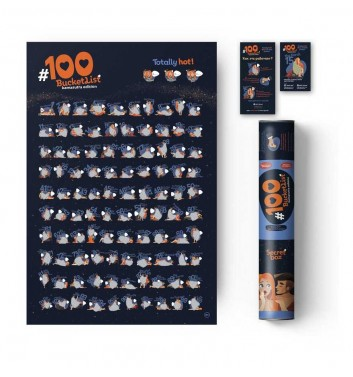 "Motivational scratch-poster ""100 bucketlist Kamasutra edition"""