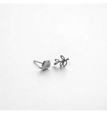 "Earrings ""Bird and Branch"""