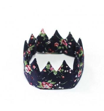 "Crown ""Dark blue with flowers"""