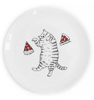 Тарілка «Кіт з піцою» Orner Store ШОСЬ