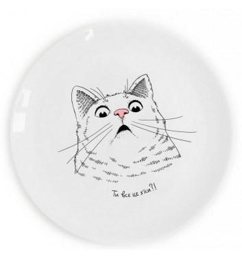 Тарелка Orner Store Удивленный кот