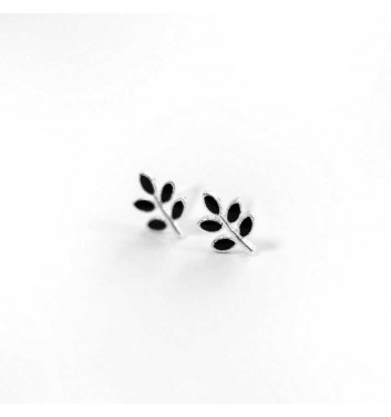 Сережки Argent jewellery Leaves Black
