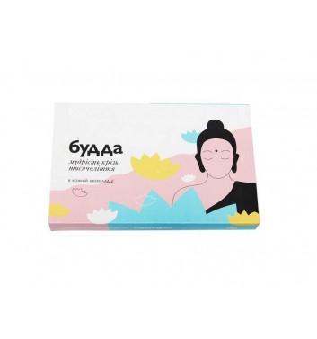 "A set of chocolates with prediction ""Buddha"""