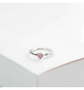 Ring Argent jewellery Heart pink