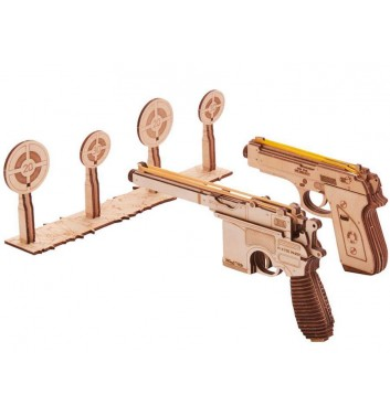 Mechanical 3D puzzle Wood Trick A set of pistols