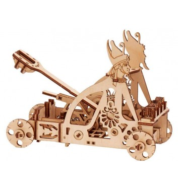 Mechanical 3D puzzle Wood Trick Catapult