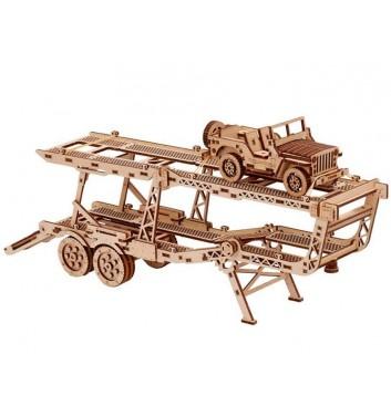 Mechanical 3D puzzle Wood Trick Сar Trailer