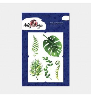 Временное тату Arley Sign Сет зеленых листьев