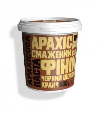 Арахісова паста TOM (Maslotom) кранч з чорним шоколадом та фiнiками 500 г