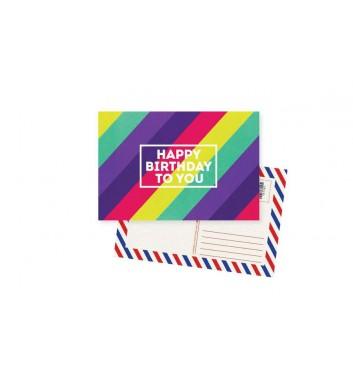 Postcard Mirabella postcards Happy Birthday Colored