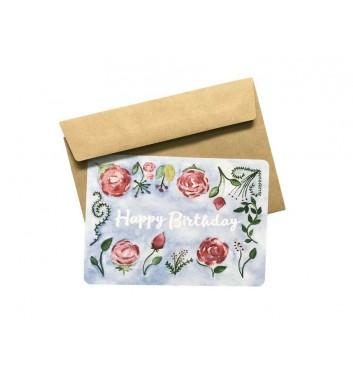 Листівка EgiEgi Cards Квіти на синьому