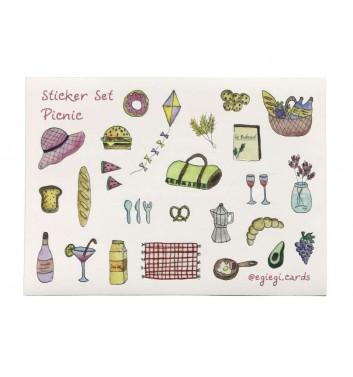 A set of stickers EgiEgi Cards Picnic №1