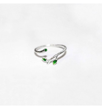 Ring Argent jewellery Green leaves