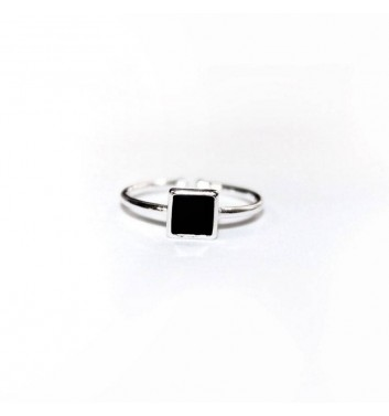 Ring Argent jewellery Black Square