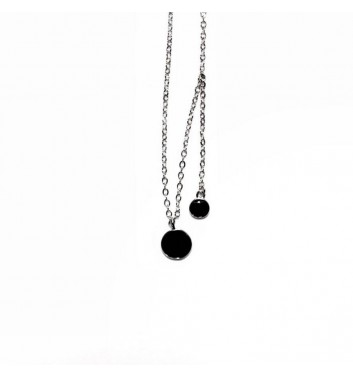 Pendant Argent jewellery Two Black Circle