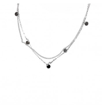 Pendant Argent jewellery Two Chains and Disks
