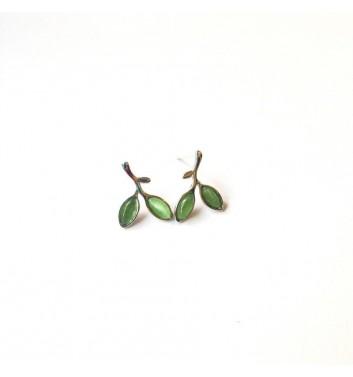 Серьги Argent jewellery Two green leaves