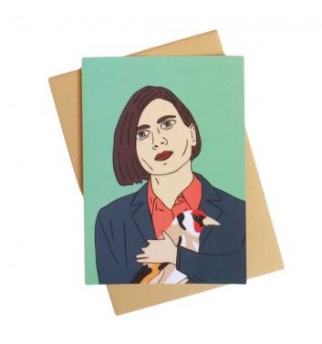 Postcard Unicorn and Wine Donna Tartt