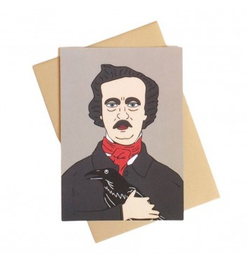 Postcard Unicorn and Wine Edgar Allan Poe