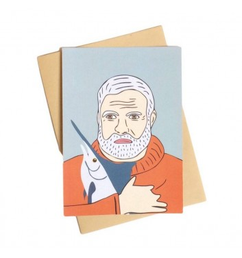 Postcard Unicorn and Wine Ernest Hemingway