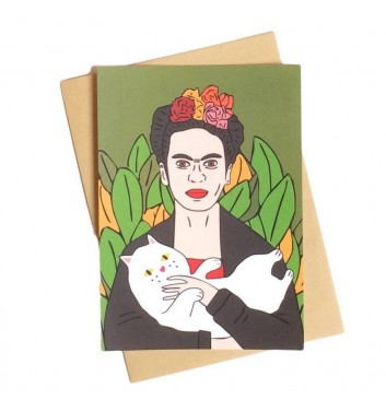 Postcard Unicorn and Wine Frida Kahlo