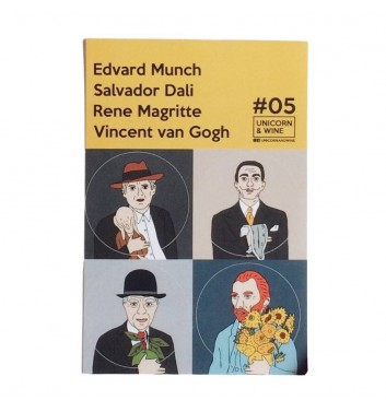Set of stickers Unicorn and Wine Munch Dali Magritte van Gogh