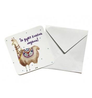 Мини открытка EgiEgi Cards Лама
