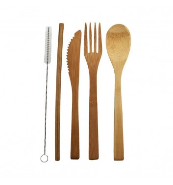 A set of cutlery for travel Leaf Wood