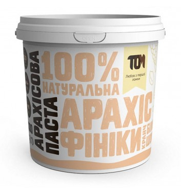 Арахісова паста TOM (Maslotom) кранч з білим шоколадом та фініками 1000 г
