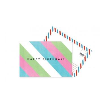 Листівка Mirabella postcards Happy Birthday Colored Lines