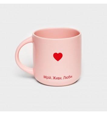 Чашка рожева Orner Store Мрій Живи Люби