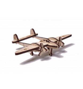 Механический 3D пазл Wood Trick Вудик Самолет Лайтнинг
